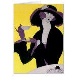 Vintages elegante Frauen-trinkendes Grußkarten