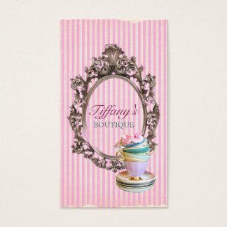 Vintages elegantes Rosa stripes Teacupsmode Visitenkarte