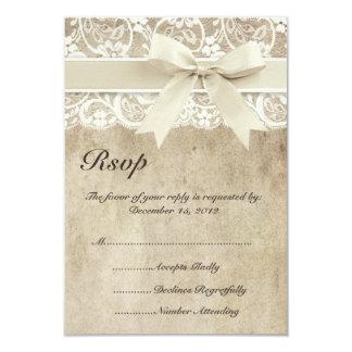 Vintages Eleganz-Band auf Spitze-Hochzeit UAWG 8,9 X 12,7 Cm Einladungskarte