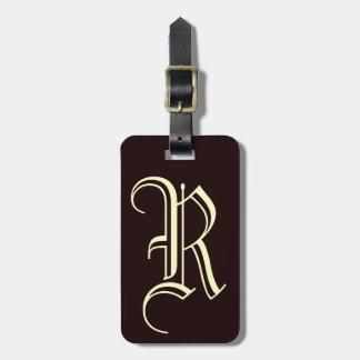 Vintages englisches Monogramm des Buchstaben R Kofferanhänger