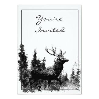 Vintages Entwurfs-Hirsch-Party laden ein 12,7 X 17,8 Cm Einladungskarte