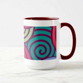 Vintages farbiges Spirale-Muster Tasse