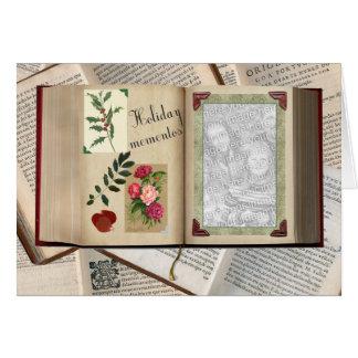 Vintages Feiertags-Album mit Ihrem Foto Grußkarte