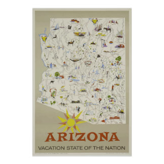 Vintages Ferien-Staats-Arizona-Reise-Plakat Poster