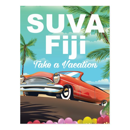 Vintages Ferienplakat Suvas, Fidschi Postkarte