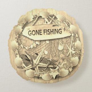 Vintages Fischen-Kissen - gegangene Fischerei Rundes Kissen