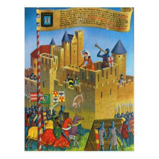 Vintages Frankreich mittelalterliches Carcassonne Postkarte