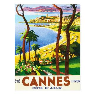 Vintages Franzose-Reise-Plakat Cannes Cote d'Azur Postkarte