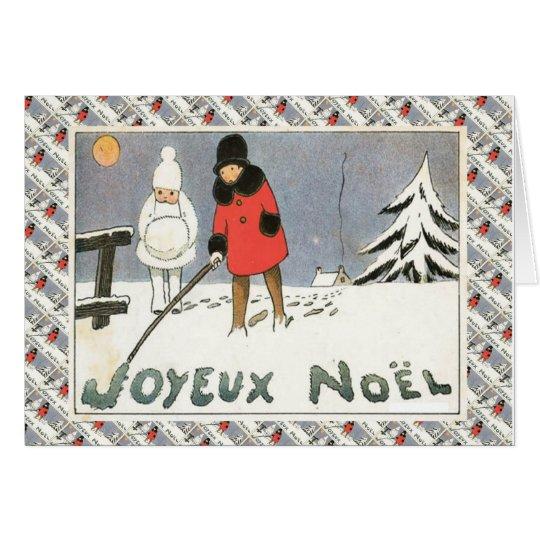 Vintages französisches Weihnachten, Kinder im Grußkarte