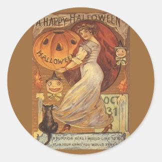 Vintages Frau und Jack Halloweens o Laterne Runder Aufkleber