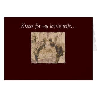Vintages Frauenküssen Karte