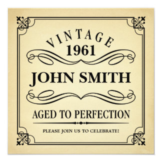 Vintages gealtert zum Perfektions-lustigen Quadratische 13,3 Cm Einladungskarte