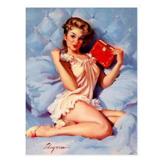 Vintages geheimes Tagebuch Gil Elvgren Button Postkarte