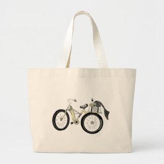 Vintages gelbes Fahrrad mit Picknick-Korb Jumbo Stoffbeutel