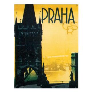 Vintages Geldstrafe-Reise-Plakat Prags (Prag) Postkarte