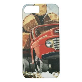 Vintages Geschäft, aufzeichnenlkw mit Holzfällern iPhone 8/7 Hülle