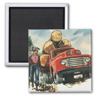 Vintages Geschäft, aufzeichnenlkw mit Holzfällern Quadratischer Magnet