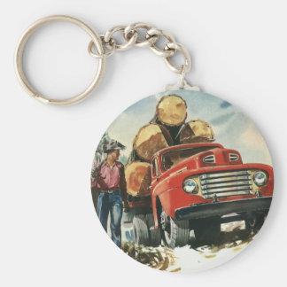 Vintages Geschäft, aufzeichnenlkw mit Holzfällern Schlüsselanhänger