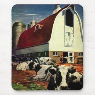 Vintages Geschäft, Holstein-Milch-Kühe auf Mauspad