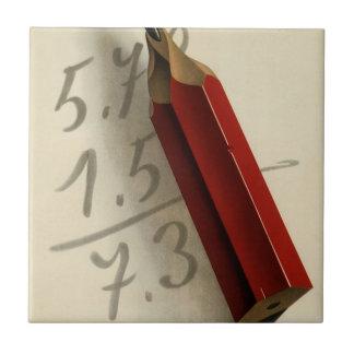 Vintages Geschäft, Mathe-Gleichung mit rotem Fliese