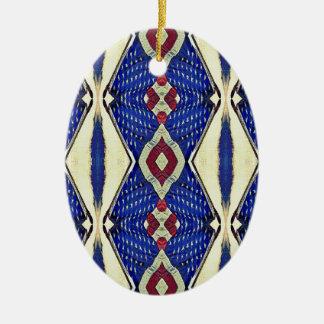 Vintages getontes rotes weißes blaues keramik ornament