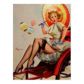 Vintages Gil Elvgren Rickshaw-Button herauf Postkarte