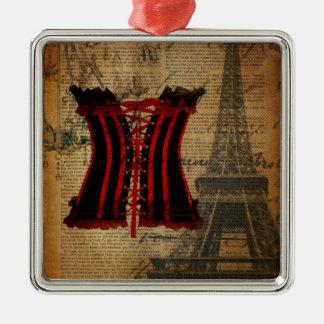 Vintages girly Korsett Turms Paris Eiffel Silbernes Ornament