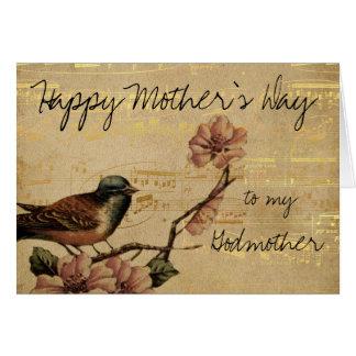 Vintages Gold mit Musik und Vogel-Mutter-Tag Karte
