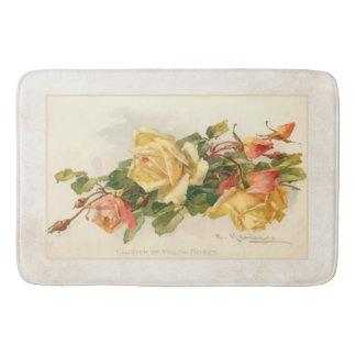 Vintages Gold und rosa Rosen Badematte