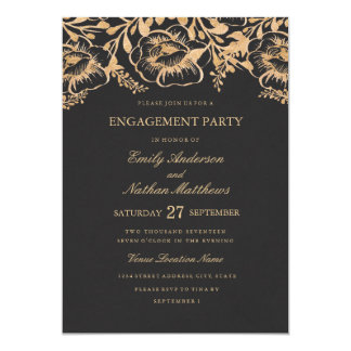 Vintages Goldblumenhochzeits-Verlobungs-Party 12,7 X 17,8 Cm Einladungskarte