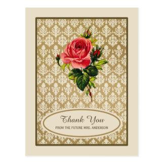 Vintages Golddamast-Rosen-Brautparty danken Ihnen Postkarte