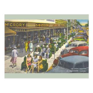 Vintages Grün Benches St- Petersburgpostkarte Postkarte