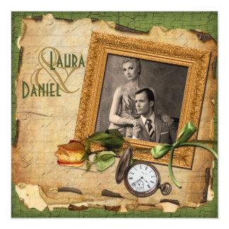 Vintages Grün, Goldrahmen-Foto-Hochzeit laden ein Quadratische 13,3 Cm Einladungskarte