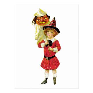 Vintages Halloween-Mädchen Postkarte
