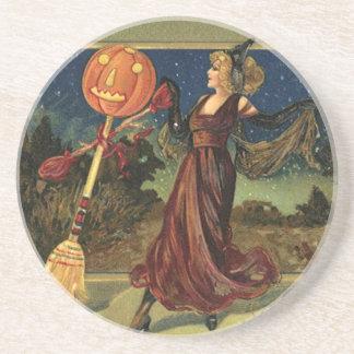 Vintages Halloween, schöne Tanzen-Hexe Getränkeuntersetzer