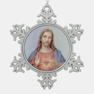 Vintages heiliges Herz von Jesus Schneeflocken Zinn-Ornament