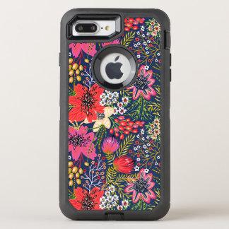Vintages helles Blumenmuster-Gewebe OtterBox Defender iPhone 7 Plus Hülle