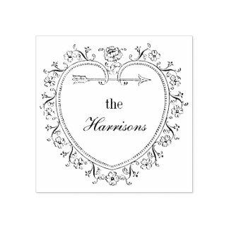 Vintages Herz und Blumen personifizieren Gummistempel