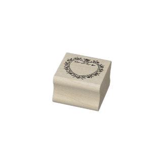 Vintages Herz und Blumen-Rahmen-Gummi-Briefmarke Gummistempel