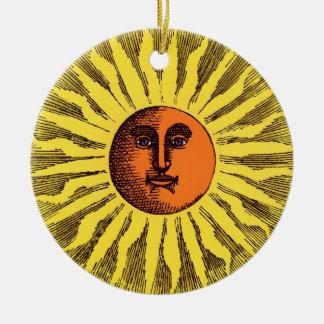 Vintages himmlisches Gelblächelnder glücklicher Rundes Keramik Ornament