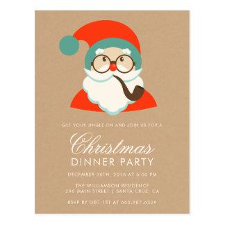 Vintages Hipster-Sankt-WeihnachtsParty Postkarte