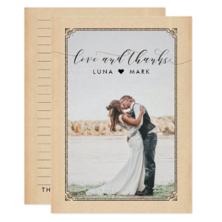Vintages Hochzeits-Foto danken Ihnen Karten 12,7 X 17,8 Cm Einladungskarte