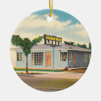 Vintages Hotel, goldenes Westhäuschen-Motel Rundes Keramik Ornament