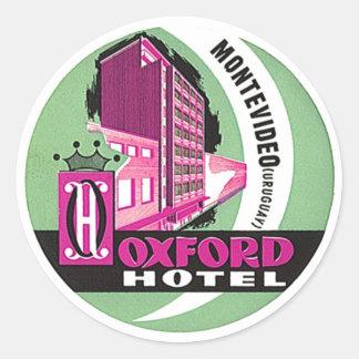Vintages Hotel Reise-Aufkleber-Montevideos Uruguay Runder Aufkleber