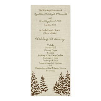 Vintages immergrünes Hochzeits-Programm 10,2 X 23,5 Cm Einladungskarte