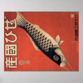 Vintages japanisches Fischplakat Poster