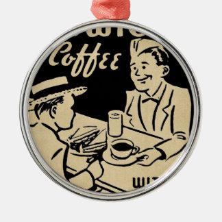 Vintages Kaffee-Geschäft Silbernes Ornament