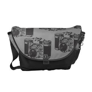 Vintages Kamera-Schwarz-graue Rickshaw-Bote-Tasche Kuriertasche