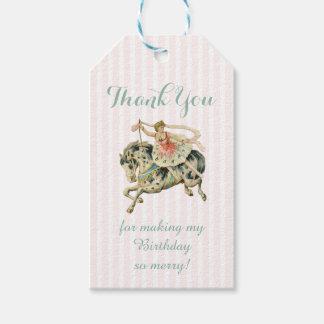 Vintages Karussell danken Ihnen zu etikettieren Geschenkanhänger