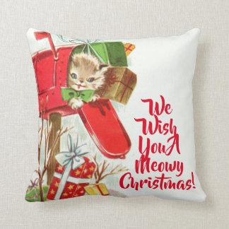 Vintages Kätzchen in einem Briefkasten-Weihnachten Kissen